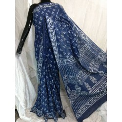 Hand Blocked Indigo Saree with Blouse (TF-IN-1702-009)