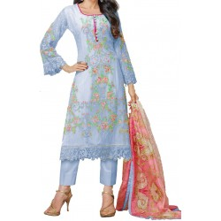 Georgette Semi Stitched Dress Material (Light Blue)