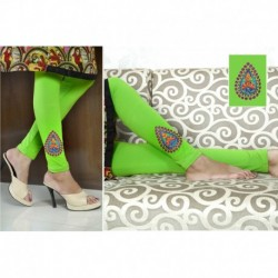 Color Threads Embroidered Cotton Leggings 9